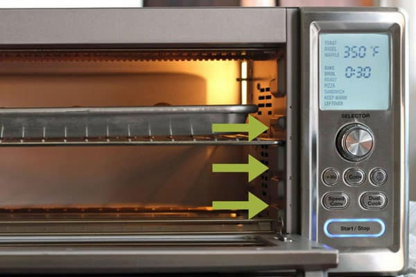 Toaster oven rack placement can affect how your food cooks. Use the middle or bottom positions when cooking with convection.