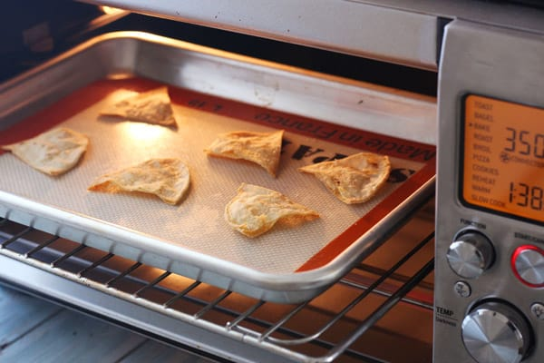 Chips baking in a convection toaster oven.