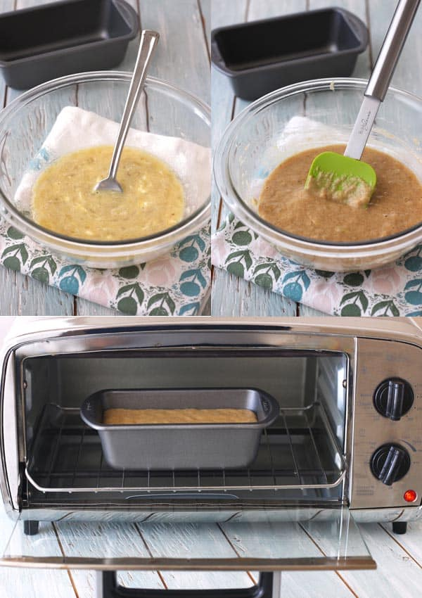 banana bread ingredients in bowls and then in a mini metal loaf pan