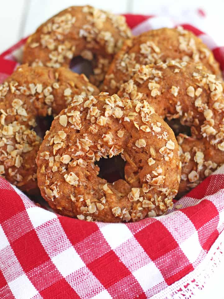 Toaster Oven Buttermilk Cinnamon Apple Donuts. Start your morning off right with these whole grain muffin-style donuts filled with shredded apple and warm cinnamon.
