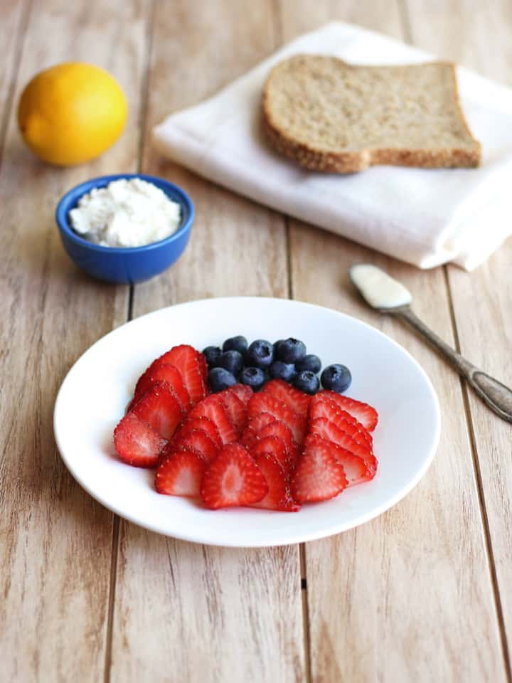 Berry Flag Toast ingredients on a wooden table.