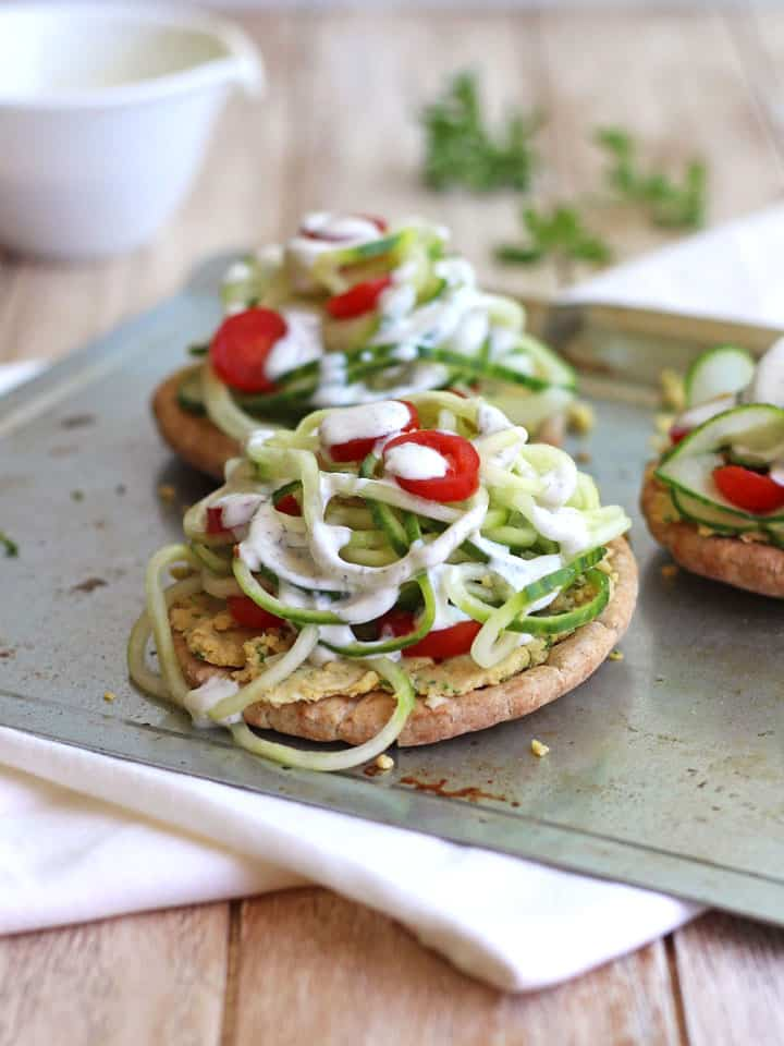 Healthy Toaster Oven Appetizers: Chickpea Cucumber Mini Pita Pizzas