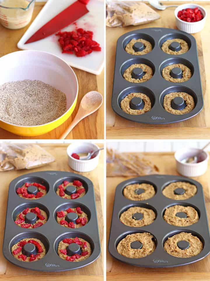 Four photos showing how to make batter and fill donut pan.