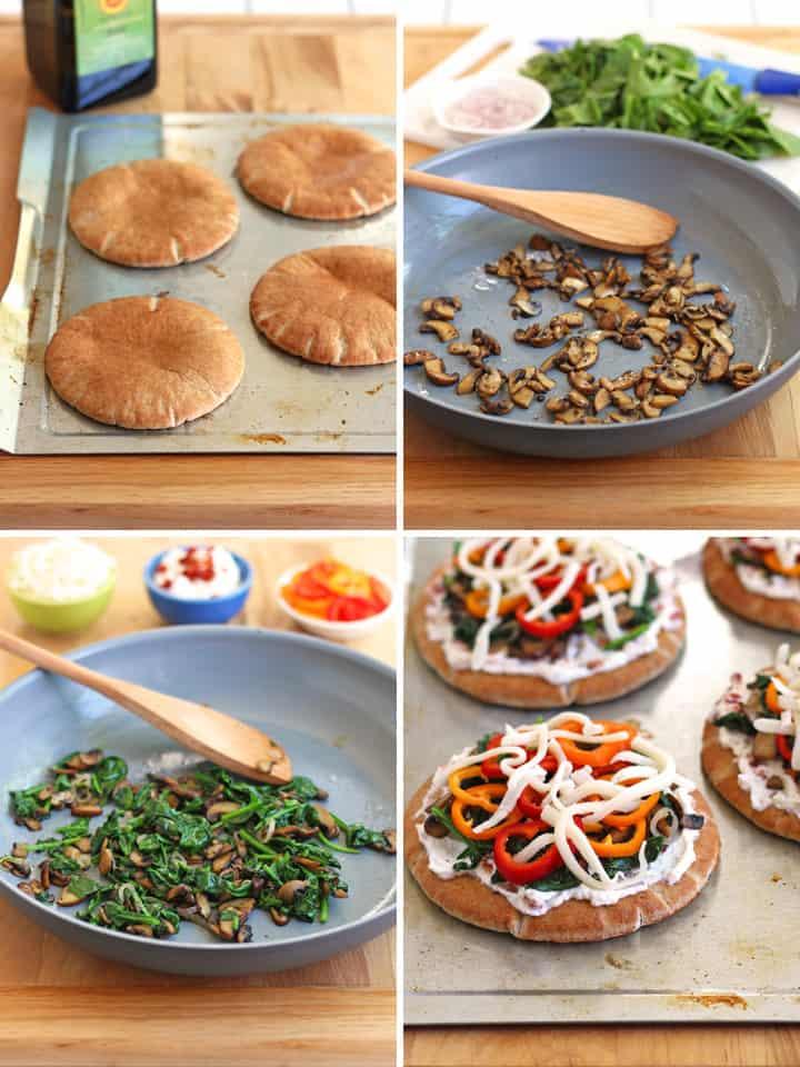 Photo grid: toasted pita, pan of cooked veggies, topped pitas.