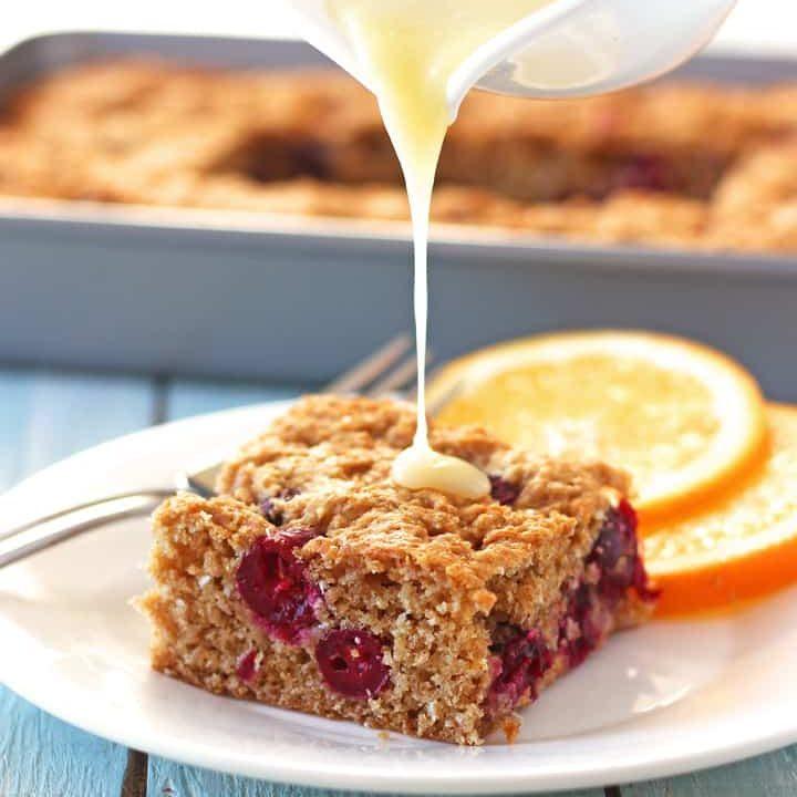 White Chocolate Cranberry Orange Snack Cake