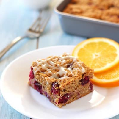 White Chocolate Cranberry Orange Snack Cake