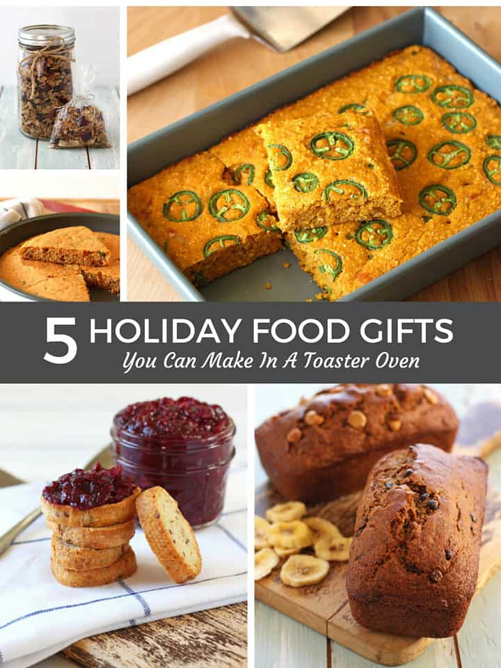 5 Easy Recipes for Holiday Food Gifts You Can Make in a Toaster Oven. Make personal and tasty homemade edible gifts using your toaster oven. Spicy Cheddar Sriracha Cornbread, Balsamic Roasted Cranberries, No-Stir Toaster Oven Granola, Mini Banana Bread and Jalapeño Pumpkin Cornbread.