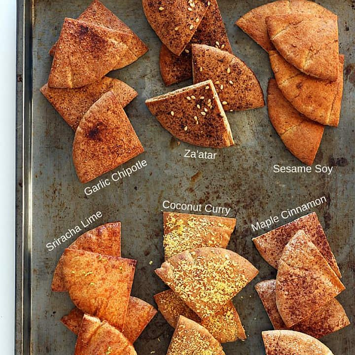 Baked Pita Chips (In 6 Awesome Healthy Flavors)