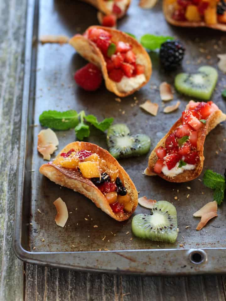 Potsticker Fruit Tacos. Less than 15 minutes for a fun kid-friendly Valentine's Day treat. Cinnamon dusted Potsticker or Wonton wrappers baked until crispy and golden. Fill with fresh fruit, ricotta, Greek yogurt or ice cream