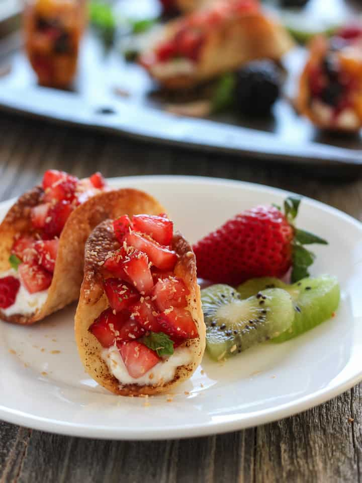 Potsticker Fruit Tacos. Brush Potsticker or Wonton wrappers lightly with oil, sprinkle with cinnamon and bake. Fill the crispy shells with ricotta and fruit for a quick toaster oven dessert for two.