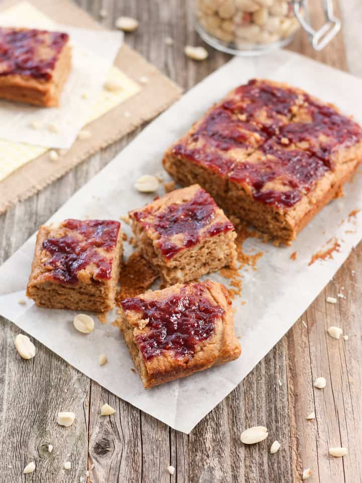 Small Batch Peanut Butter and Jelly Bars. The classic flavors of a peanut butter and jelly sandwich baked into a moist and cakey snack bar treat.