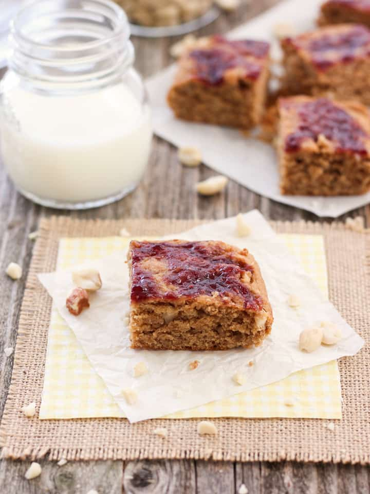 Small Batch Peanut Butter and Jelly Bars. Classic peanut butter and jelly flavor in a convenient whole grain treat. Dairy-free, egg-free and sweetened with maple syrup. A great afternoon snack or evening dessert.