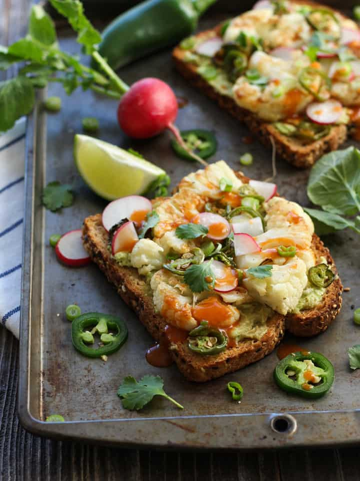 Spicy Avocado Cauliflower Toasts