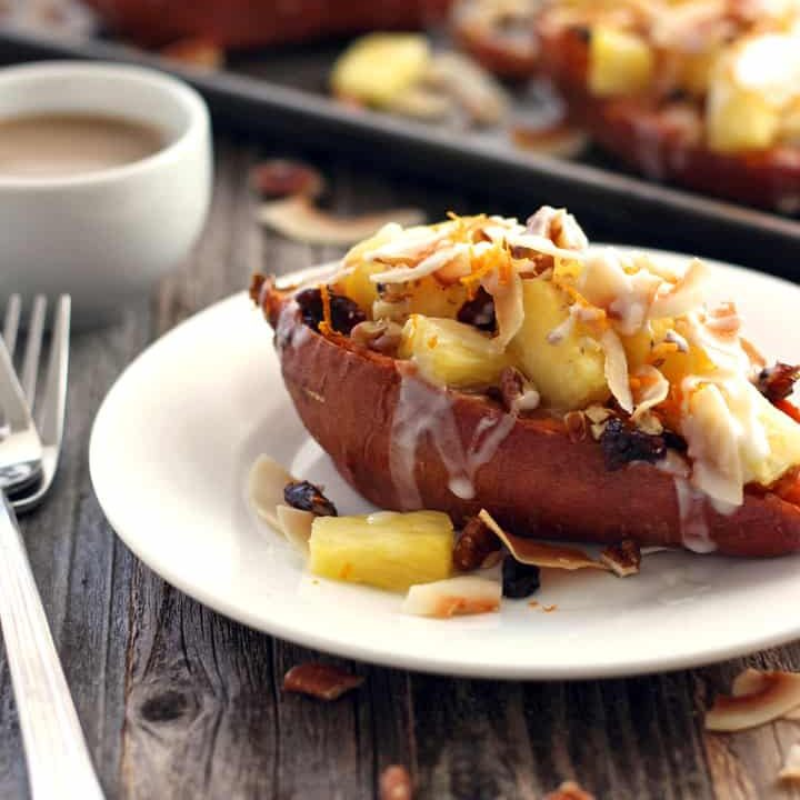 Vegan Twice-Baked Sweet Potatoes with Pineapple and Coconut