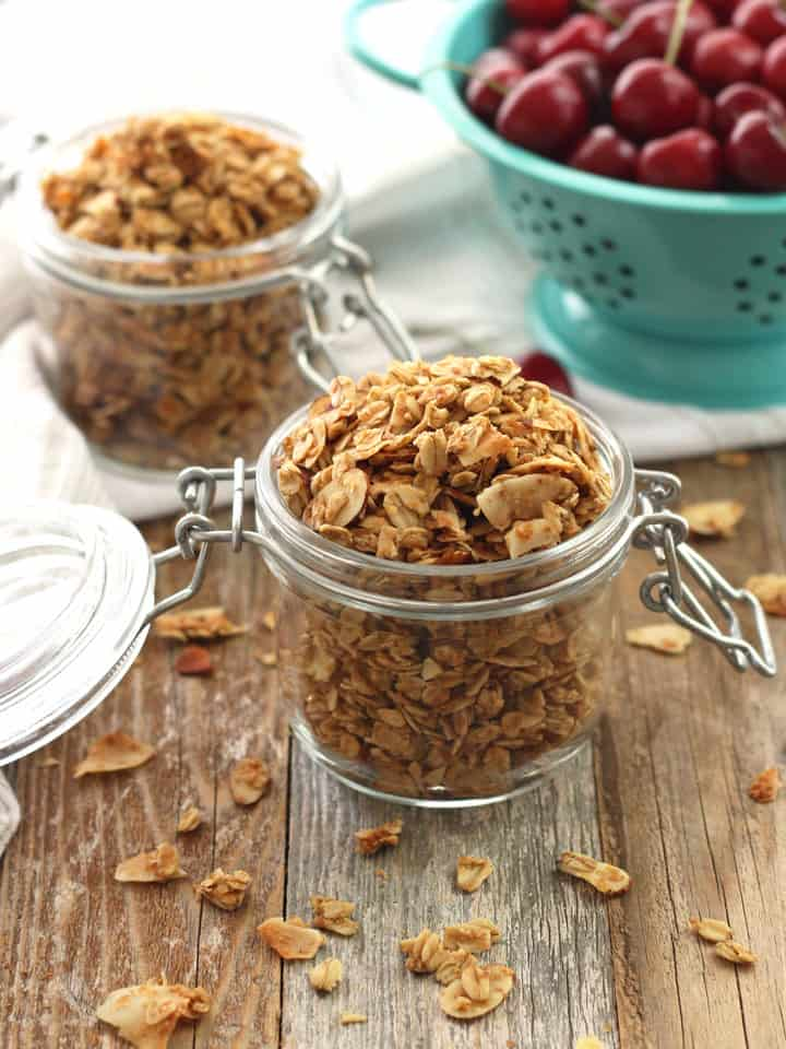 Small Batch Almond Granola. A simple recipe for two cups of maple syrup sweetened almond granola. Perfect for making in your toaster oven!