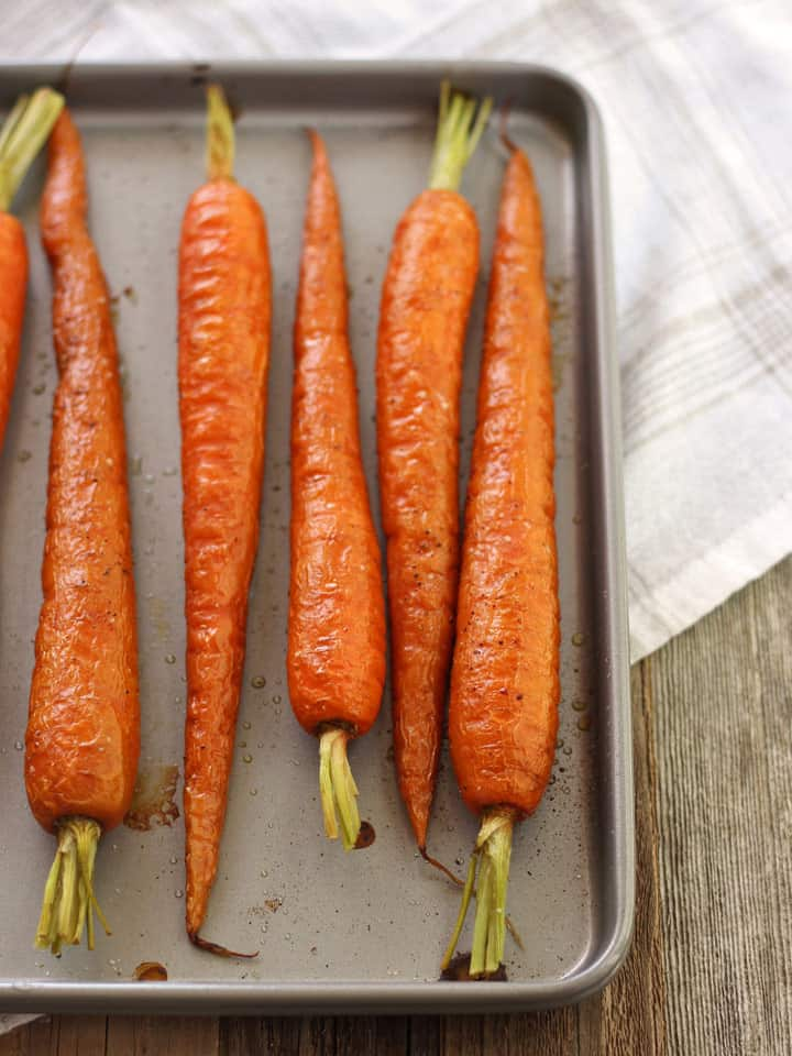 Toaster Oven Roasted Carrots. Sweet and tender olive oil roasted carrots drizzled with balsamic vinegar. Add this versatile veggie side dish to your dinner tonight!