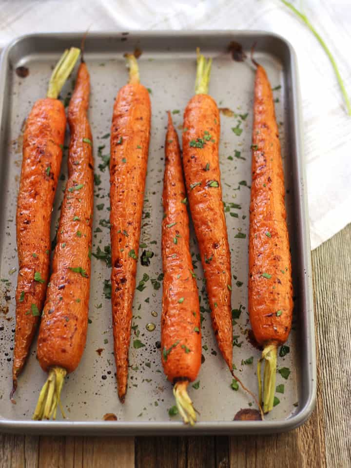 Toaster Oven Roasted Carrots. An easy recipe for sweet and tender toaster oven roasted carrots. Enjoy them lightly seasoned or dressed up with a drizzle of balsamic vinegar.