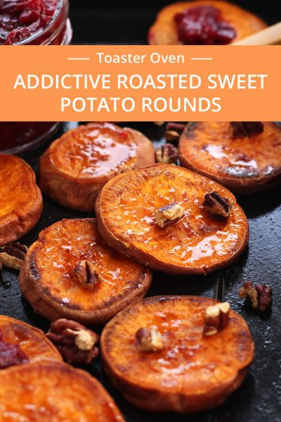 Addictive Roasted Sweet Potato Rounds seasoned with coconut oil, salt and cinnamon then roasted to caramelized perfection. Drizzle with maple syrup, roasted cranberries and toasted pecans for an irresistible Thanksgiving snack or side dish for two.