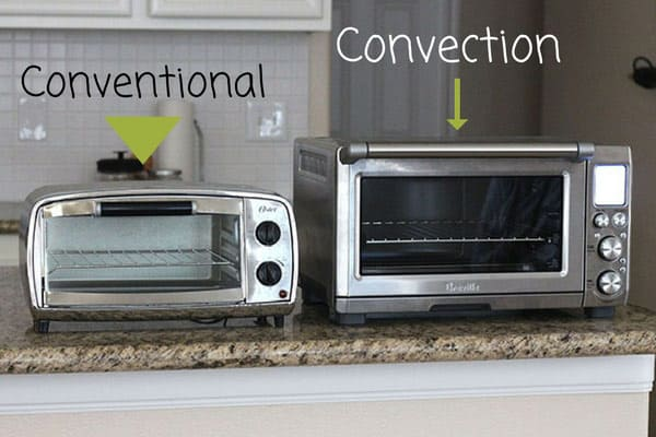 Convection toaster ovens heat food like a conventional toaster oven but with the bonus of a fan. The convection fan increases browning and speeds up cooking