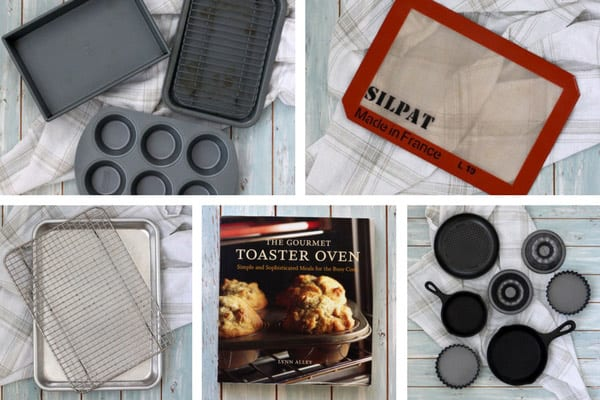 Sheet pans, silicone mat, toaster oven cookbook, and mini pans
