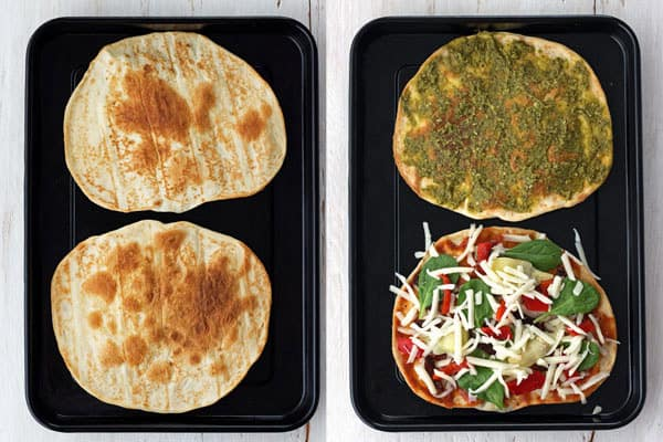 Tortillas crisping on a dark sheet pan and tortillas covered with toppings on a sheet pan.