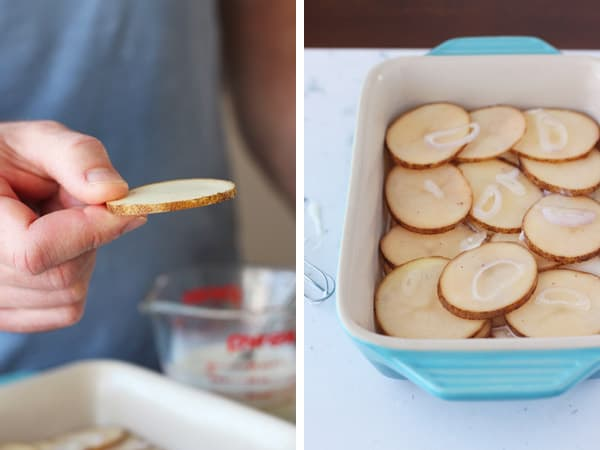 Thin sliced potatoes and shallot in a baking dish