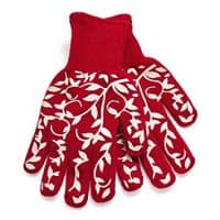 Sur La Table Floral Vine Small Oven Gloves, Set of 2, Red