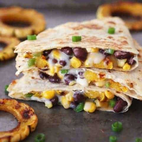 Toaster Oven Quesadilla with Squash and Black Beans