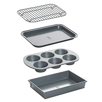 Chicago Metallic 8044 Non-Stick Toaster Oven Bakeware Set, 4-Piece, Carbon Steel