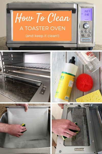 Toaster oven and cleaning supplies.