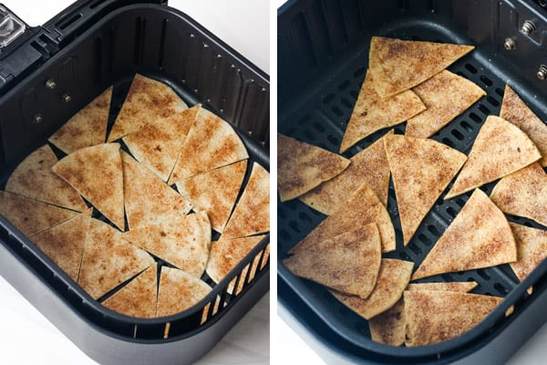 Baked and unbaked chips in an air fryer basket.