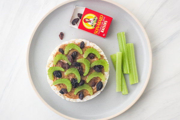 Plate with rice cake, celery sticks, and small box of raisins.