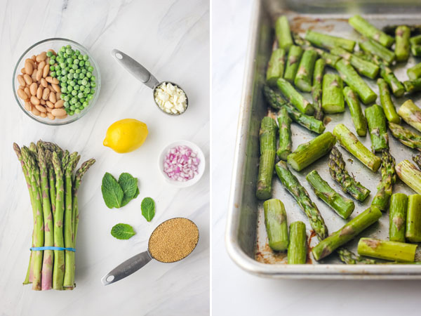 Pan of roasted asparagus and bowl ingredients on a white background.