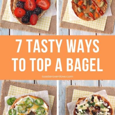 Four bagels topped with fresh fruits and veggies.