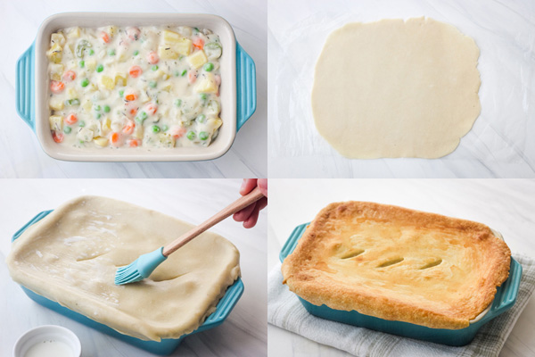 Pot pie filling in a baking dish and covered with pie crust.