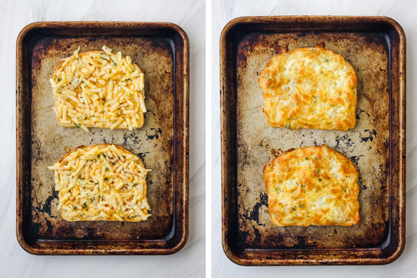 Bread with egg and cheese on a sheet pan and baked egg and cheese toasts on a sheet pan.