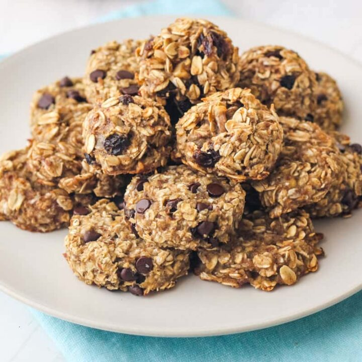 Plate with a variety of banana oat cookies.