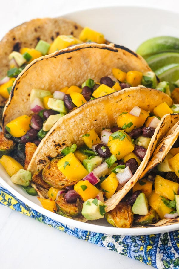 Brussels Sprouts Tacos with Mango Avocado Salsa