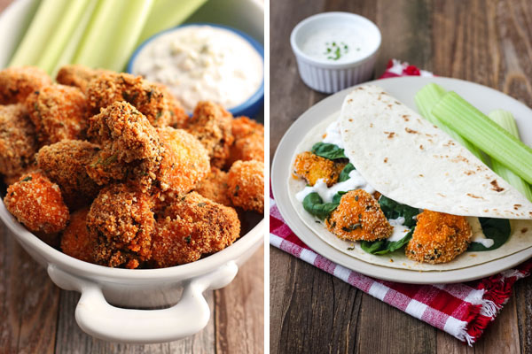 Buffalo Broccoli and Cauliflower Bites in a serving dish and wrapped in a tortilla.