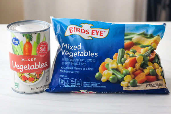 Canned and frozen mixed vegetables.