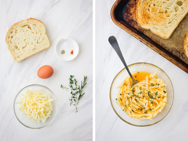 Ingredients and a small glass bowl with a beaten egg and cheese next to a sheet pan with toasted bread.