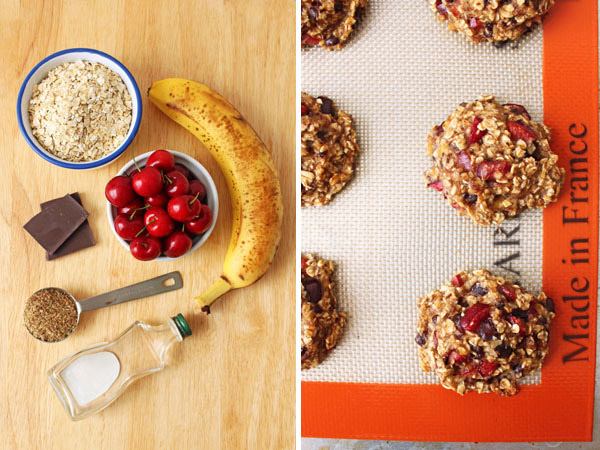 A cutting board with banana, cherries, and oats and a photo of cookie dough on a baking sheet.