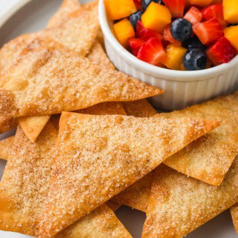 Cinnamon Baked Wonton Chips