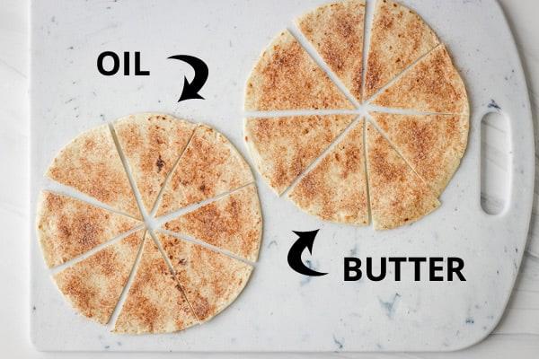 Tortillas on a cutting board.