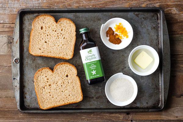 Cinnamon toast ingredients on a baking sheet.