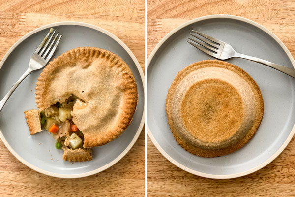 First Photo: Pot pie with fork on a blue plate. Second Photo: Browned bottom of pot pie on plate.