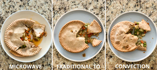 "3 photos of pot pies on plates with the words ""microwave"" ""traditional to"" and ""convection"""