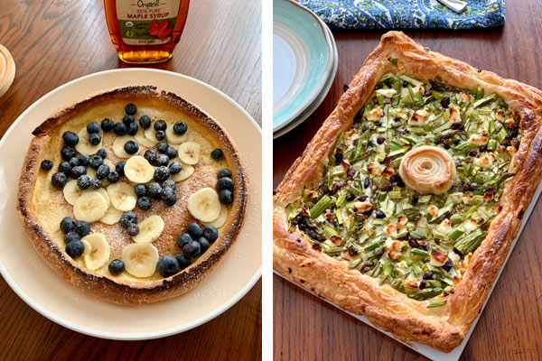 Dining room table with a dutch baby and puff pastry tart.