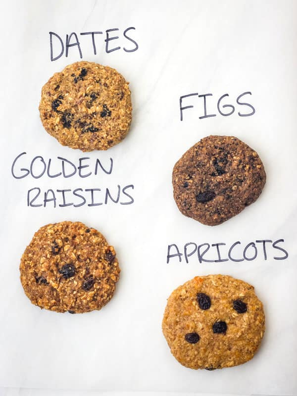 Four cookies with text written above: figs, dates, golden raisins, and apricots.