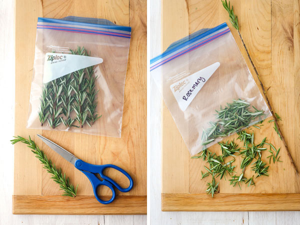 First Photo: Rosemary stems in a bag with scissors on a cutting board. Second Photo: Rosemary leaves in a plastic bag.